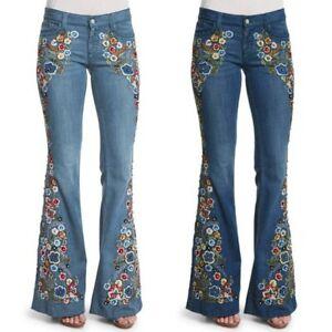 Women Ladies Floral Denim Jeans High-Waist Bell-bottom Wide Leg Street Pants