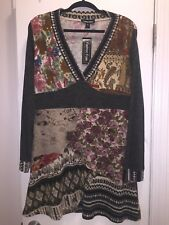 Winter Dress or Long Tunic Gray and Rose print L/XL