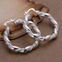 925 Sterling Silber Damen Ohrringe Creolen 30mm Silber Plattiert Ohrschmuck