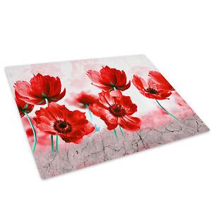 Poppy's Flower Red British Glass Chopping Board Kitchen Worktop Saver