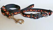 collier et laisse nylon noir et orange pour chien de taille moyenne