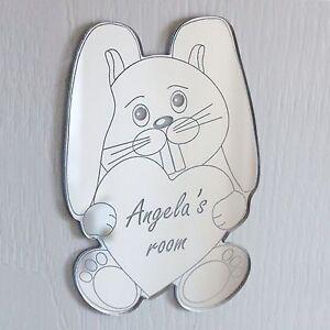 Rabbit Heart Mirror Set Personalised Door Name Plaque Boy Girls Bed Room Sign