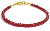 "3-4MM Dyed Ruby Jade Rondelle Faceted Gemstone Beads 7"" Bracelet Jewellery"