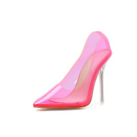 Women  Ladies Perspex Clear Pointed Stiletto High Heel Court Shoes Pumps Party D