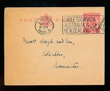 GB MACHINE CANCEL 1922 CABLE TO CANADA AUSTRALIA + NZ VIA IMPERIAL...LEEDS