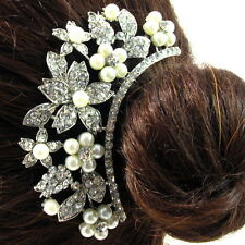 USA Hair Comb vintage Crystal Handmade Bridal wedding prom pearl pin silver 19