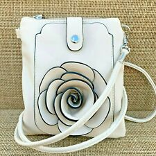 Cream Rose Small Bag with Smart Phone Spectacle Holder Long Cross Body Strap
