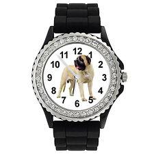 American Mastiff Dog Crystal Rhinestone Mens Ladies Silicone Wrist Watch Sg32P