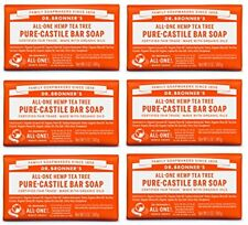 NEW Dr. Bronners Pure Castile Bar Soap  Tea Tree 5 oz 6 Pack FREE SHIPPING