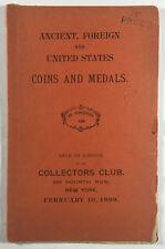 Rare Coins & Medals Numismatic Auction Catalog No 159 Edouard Frossard NY 1899