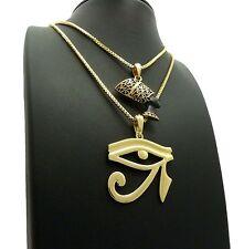 "24"", 30"" Box Chains Hip Hop Necklaces Set New Nefertiti & Eye Of Heru Pendant &"