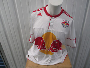 VINTAGE ADIDAS MLS NEW YORK RED BULLS WHITE XL SEWN JERSEY 2011 KIT PREOWNED