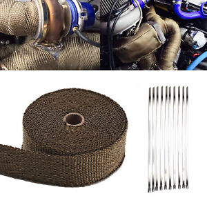 10M BROWN HEAT WRAP EXHAUST MANIFOLD DOWNPIPE 10 CABLE TIES 30cm 1000 Degree Hot