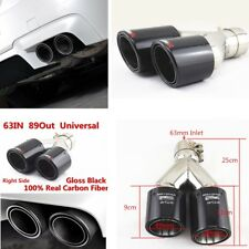 Universal Glossy Carbon Fiber SUV Dual Pipe Right Exhaust Pipe Tail Muffler Tip