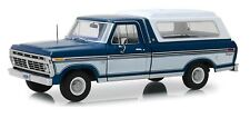 Greenlight 13544 1975 Ford F-100 Midnight Blue Poly with Deluxe Cover 1:18 Scale