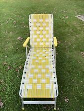 Vintage Aluminum Webbed Folding Beach Lawn Chair Chaise Lounge Yellow Adjustable