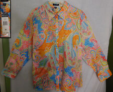 NWT! CHAPS SPRING ORANGES PINKS BLUES GREENS YELLOWS  FLORALS PAISLEYS SHIRT 3X
