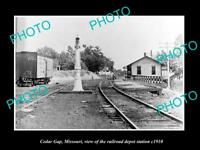 OLD LARGE HISTORIC PHOTO OF CEDAR GAP MISSOURI, THE RAILROAD DEPOT STATION c1910
