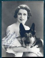 French Film & Theater Actress Suzanne Dantès w Her Dog antique signed photograph