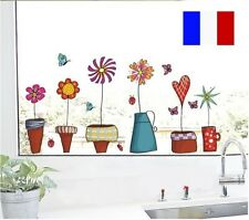 STICKERS AUTOCOLLANT AUTO ADHESIF DECORATION POTS FLEURS MUR CHAMBRE SALON
