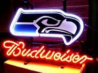 SEATTLE SEAHAWK NEON LIGHT BUDWEISER BUD  FOOTBALL CAR BEER JERSEY CAP SIGN