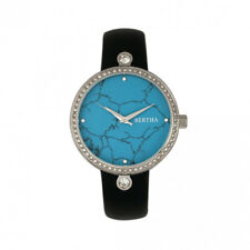 Bertha Frances Cerulean Marble Dial Black Leather Women's Watch BR6402