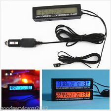 12V Digital LED Backlight Car Interior Clock Thermometer ℃/℉ Voltage Volt Meter