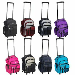 """Everest Deluxe Wheel Backpack Rolling 18"""" Carry on Travel Luggage Travel Bag"""