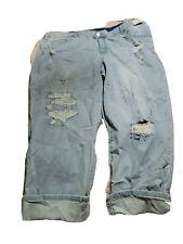 Terra & Sky Women's Plus Slim Boyfriend Distressed Jeans size 24W Light Wash NWT