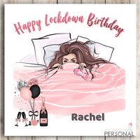 Lockdown Birthday Card for Mum Wife Sister Niece Friend Daughter Isolated Virus