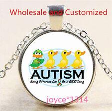 Autism Spectrum Cabochon Tibetan silver Glass Chain Pendant Necklace #3490