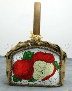 """Decorative Woven Rattan Wicker Apple Design Basket - 7"""" by 5.5"""" by 4.5"""" inches"""