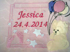 personalized with your childs name teddy  boy / girl  pink or blue cot blankets