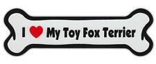 Dog Bone Shaped Car Magnets: I Love My Toy Fox Terrier