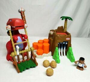 Little Tikes B.C Builders BOULDER MOUNTAIN T-Rex & Cave Dude Complete WORKS!