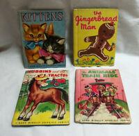 LOT OF 4 VINTAGE RAND MCNALLY BOOKS ELF JUNIOR GINGERBREAD MAN KITTENS 1950'S