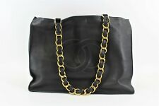 Chanel Vintage CC Logo Chunky Gold Chain XL Tote Shopper Bag Black Shoulder