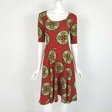 Lularoe Nicole Midi Dress Womens Size Small Red Green Abstract Print