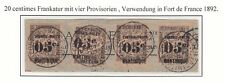 Martinique 1891-92 Used Sc #23 x 4 Surcharges On Piece Cat $64