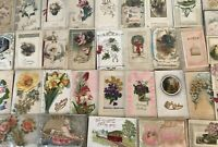 ~Lot of 50 ~1900s~Novelty~Greetings~Postcards-Silk~Metal ,Ribbons,Booklets-p468