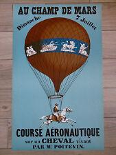 MONTGOLFIÈRE ROUCHON Affiche LITHO 1983 COURSE AÉRONAUTIQUE CHEVAL ZODIAQUE ART