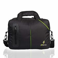 Indian Solid Portfolio Laptop Bag Black And Green Color Handle Bag For Unisex