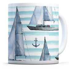 Sailing Boat Pattern - Drinks Mug Cup Kitchen Birthday Office Fun Gift #16985