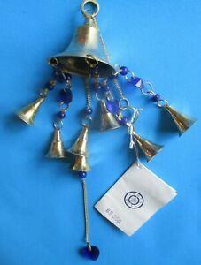 """New Wind Chimes with Purple Blue Beads Brass Wedding Bells. Made in India 17.0"""""""