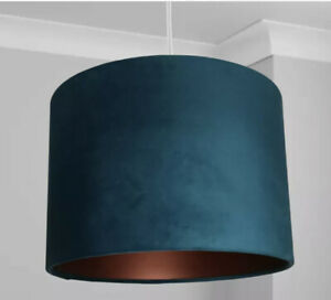 New HQ Laxury Velvet Lamp And Ceiling Light Lamp Shade With Bronze 30cm - Teal