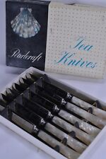 Gorgeous Vintage Boxed Set of 6 PearlCraft Faux Mother of Peal Tea Butter Knives