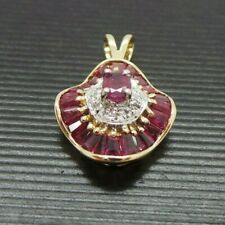 STUNNING 14K YG NATURAL RUBY & DIAMOND CLUSTER PENDANT AI-1071 2.63 grams