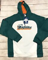New Miami Dolphins NFL Reebok Team Apparel Logo Hoodie Sweatshirt Size Large $95