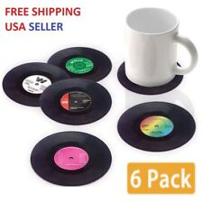 Coasters Set of 6 for hot/cold drinks - Vintage Vinyl Record Beverage Coasters