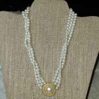 "Vintage 3 Strand 16"" Choker Style Faux Pearl Necklace With Pendant"